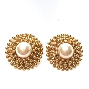 Vintage Faux Pearl Gold Button Clip On Earrings